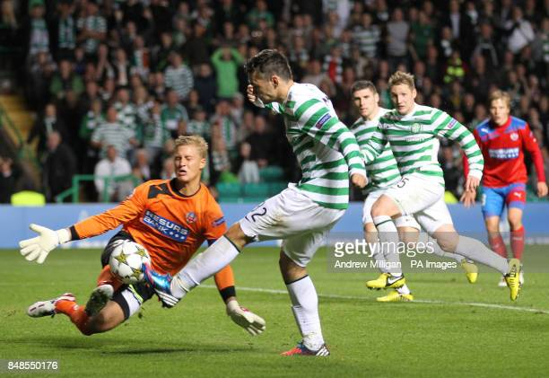 Celtic's Tony Watt shoots on goal against Helsingborg's during the Champions League Playoff second leg at Parkhead