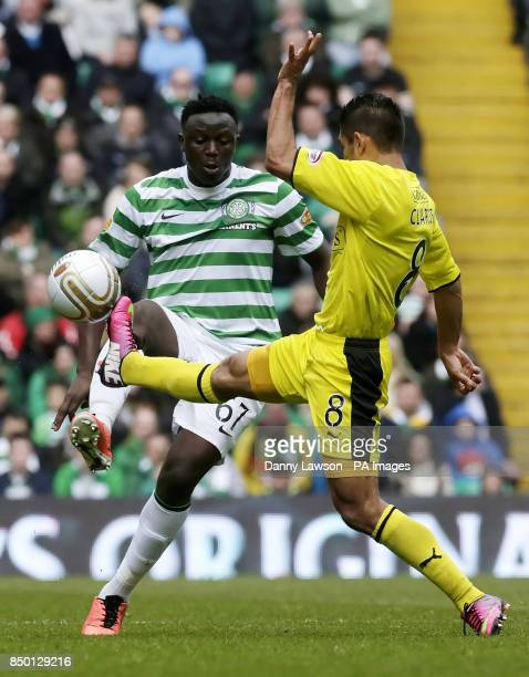 Celtic's Victor Wanyama and Hibernian's Jorge Claros fight for the ball during the Clydesdale Bank Scottish Premier League match at Celtic Park...