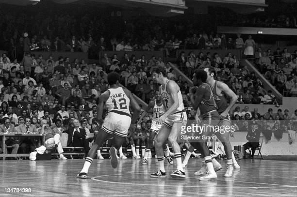 Celtics/NY Knicks basketball action, Boston Garden, Boston, Massachusetts, 1972.
