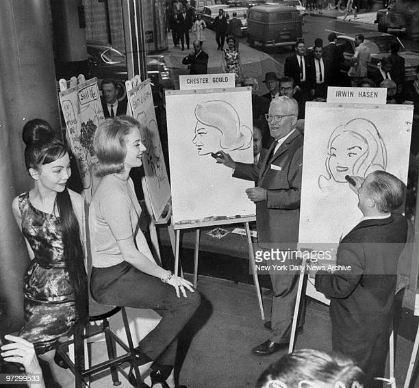 Cely Carrillo and Jeanne Jarret pose for cartoonists Chester Gould and Irwin Hasen