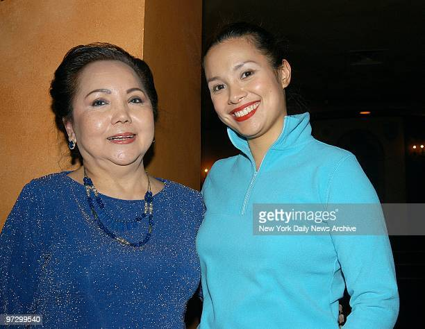 Cely Carrillo joins Lea Salonga at a party in the lobby of the Virginia Theatre following a performance of the musical revival Flower Drum Song with...