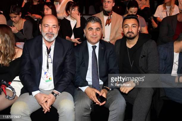 Cem Altan Burak Sertbas and Umit Temurcin attend the MercedesBenz Fashion Week Istanbul March 2019 at Zorlu Center on March 20 2019 in Istanbul Turkey