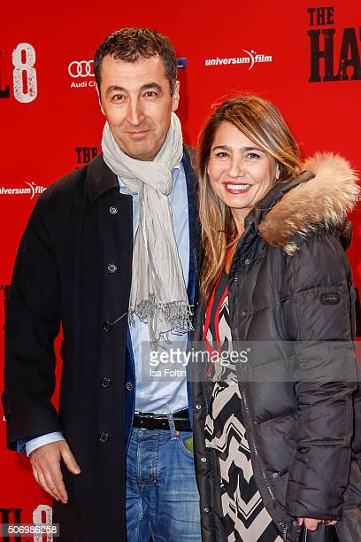 Cem Oezdemir and his wife Pia Maria Castro attend the premiere of 'The Hateful 8' at Zoo Palast on January 26 2016 in Berlin Germany