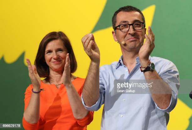 Cem Oezdemir and Katrin GoeringEckardt lead candidates of the German Greens Party in German federal elections scheduled for September attend the...