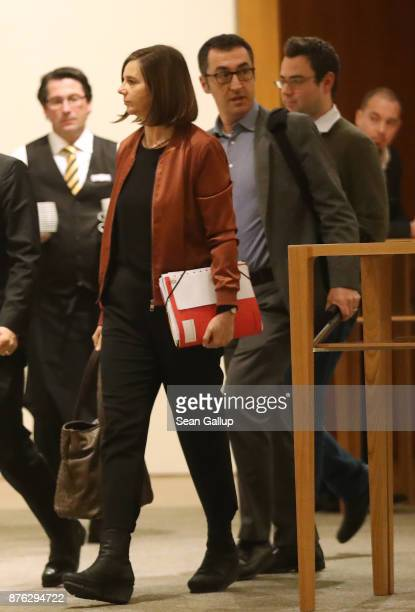 Cem Oezdemir and Katrin GoeringEckardt of the German Greens Party attend preliminary coalition talks at the BadenWuerttemberg state representation on...
