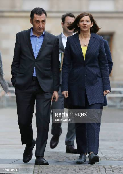 Cem Oezdemir and Katrin GoeringEckardt of the Greens Party arrives for yet another round of preliminary coalition talks for the creation of a new...
