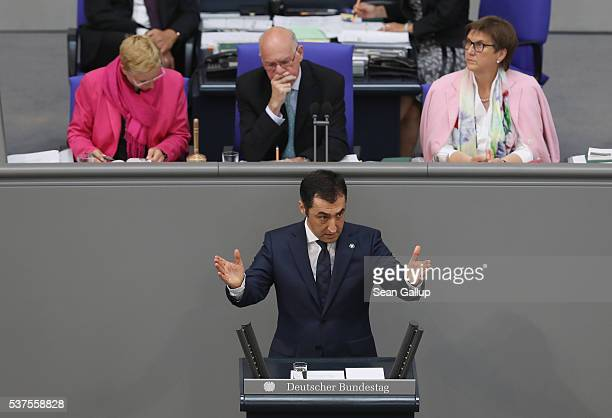 Cem Oezdemir cohead of the German Greens party and himself of Turkish descent speaks during discussions at the Bundestag on whether to recognize the...