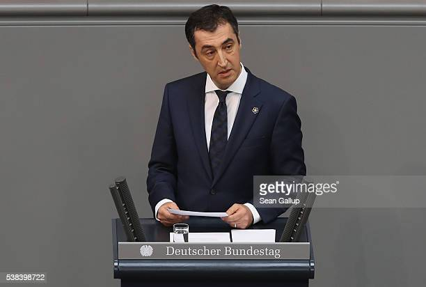 Cem Oezdemir cohead of the German Greens party and himself of Turkish descent speaks during discussions at the Bundestag prior to its passage of a...