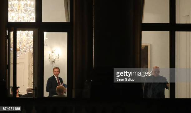 Cem Oezdemir of the Greens Party and Christian Lindner of the Free Democratic Party are seen with Horst Seehofer of the Bavarian Christian Democrats...