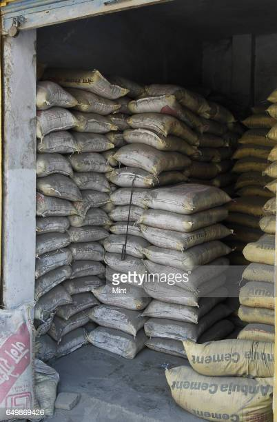 Cement bags photographed at Chawri Bazar market on February 18 2010 in New Delhi India