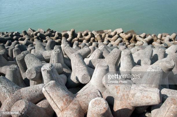 Cement blocks at sea side for protection from water at nariman point, Bombay, Mumbai, Maharashtra, India