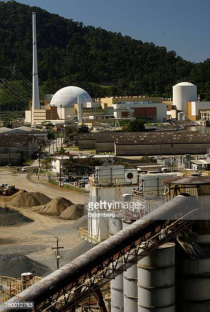 A cement factory front stands during the construction of Angra Nuclear Power Plant's third reactor Angra III in Angra dos Reis Brazil on Tuesday Aug...