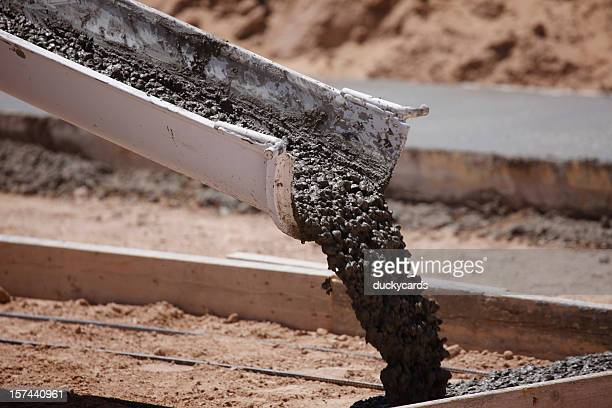 Cement Pouring from a Mixer Truck Chute