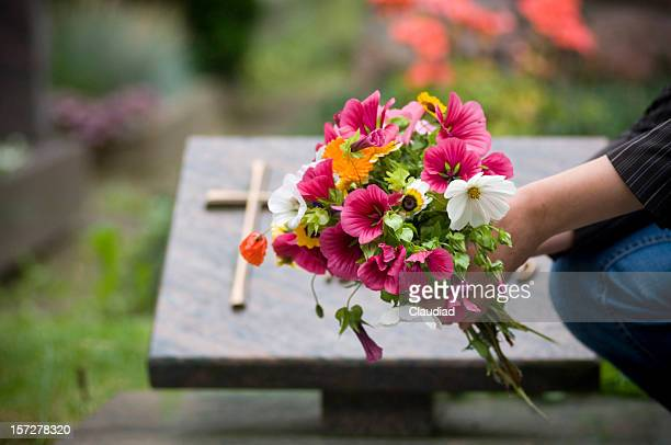 cementary - crosses with flowers stock pictures, royalty-free photos & images
