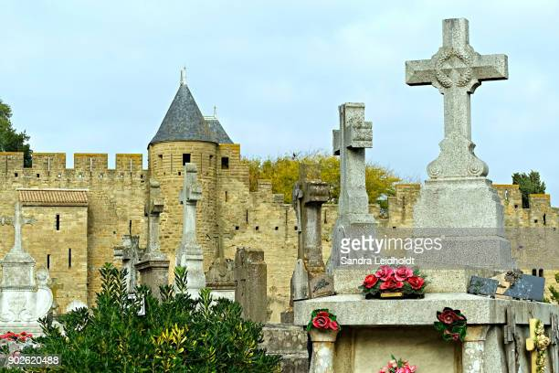 Cemetery and Fortified Walls at Carcassonne - France