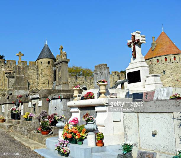 Cemetery and Medieval Walls at Carcassonne - France