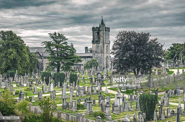 cemetery and old church, scotland, uk - place of burial stock pictures, royalty-free photos & images