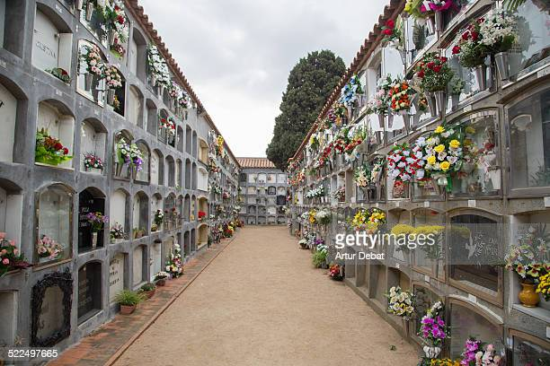 Cemetery decorated with flowers for the family of the deceased people on the Day of the Dead a catholic tradition Catalonia Europe