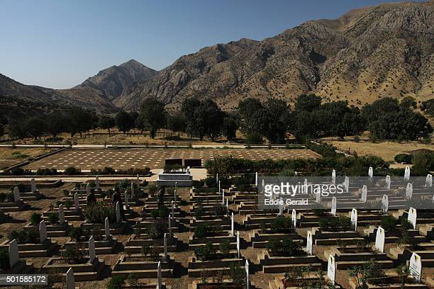 A PKK (Kurdish Workers Party) cemetery for PKK militants killed in conflict with Turkey in the Quandil Mountains, Northern Iraq