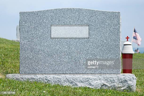 Cemetery Headstone Close Up, Blank Nameplate