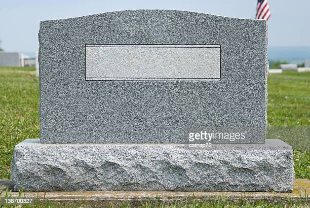 Cemetery Headstone with No Name, New Gray Granite Marker