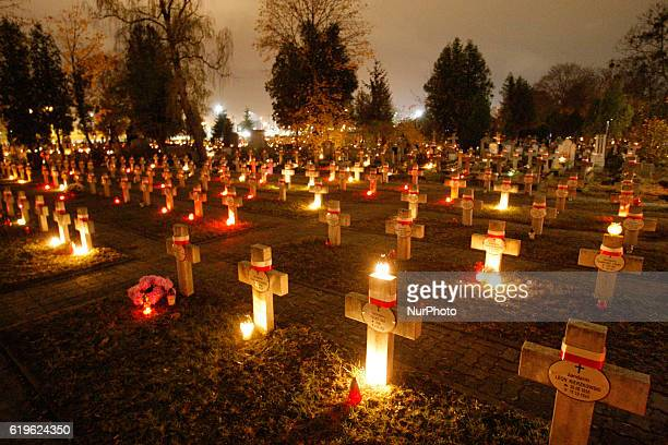 A cemetery in Bydgoszcz Poland on 31 October 2016 is seen lighted by hundreds of candles during the vigil of All Souls which takes place on November...