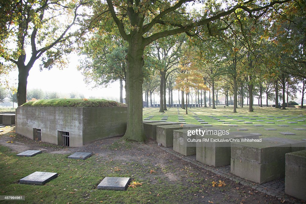Cemetery located near Ypres commemorating 44,294 German soldiers who died locally during the First World War, Langemark, Belgium : Stock Photo