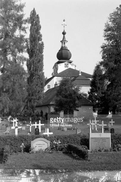 Cemetery of Leksand Church, Leksand, Sweden, 1969.