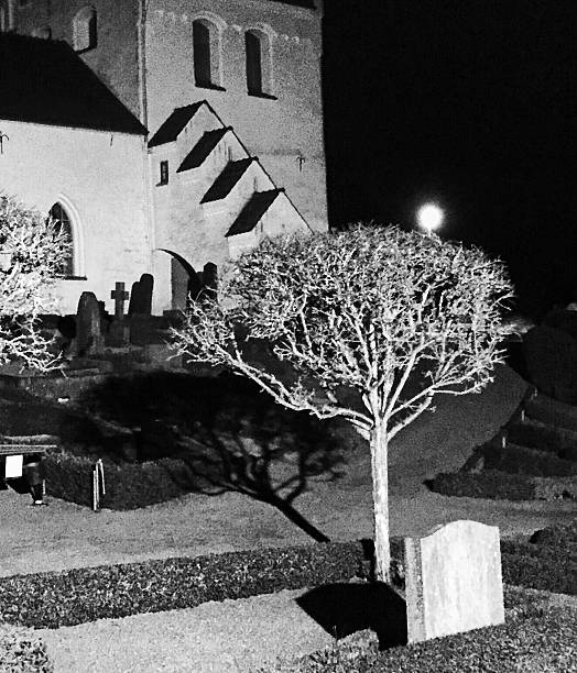 Cemetery Outside Church At Night
