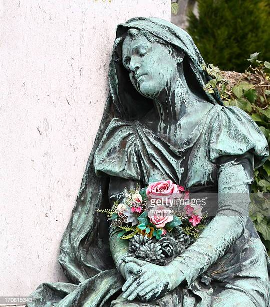 cemetery statue - mourning stock pictures, royalty-free photos & images