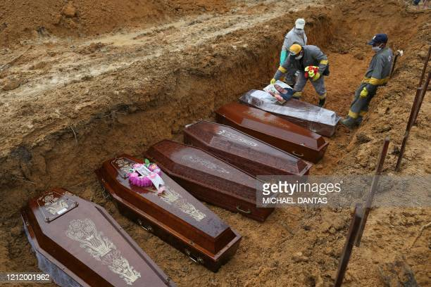 TOPSHOT Cemetery workers prepare the coffins to be buried in a mass grave at the Nossa Senhora cemetery in Manaus Amazon state Brazil on May 6 amid...