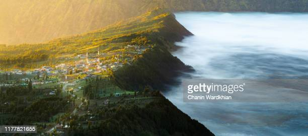 cemoro lawang village at mount bromo, indonesia - mt bromo stock pictures, royalty-free photos & images