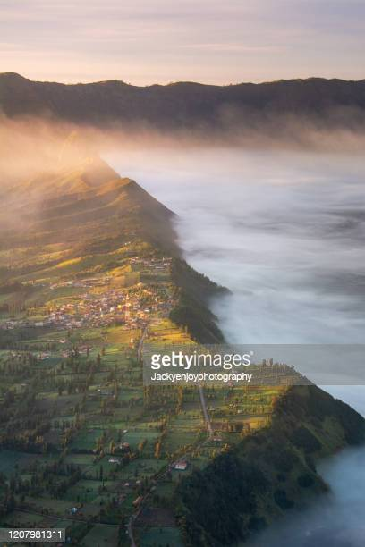 cemoro lawang village at mount bromo, indonesia - bromo crater stock pictures, royalty-free photos & images