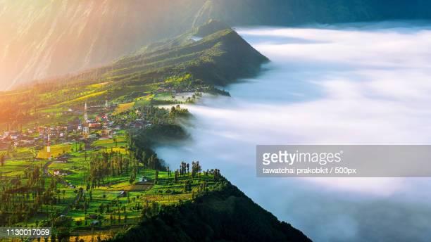 cemoro lawang village at mount in bromo tengger semeru national - mt semeru stock pictures, royalty-free photos & images