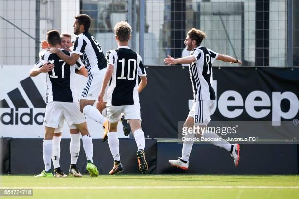 Cendrim Kameraj celebrates 21 goal during the UEFA Youth League match between Juventus and Olympiakos Piraeus at Juventus Center Vinovo on September...