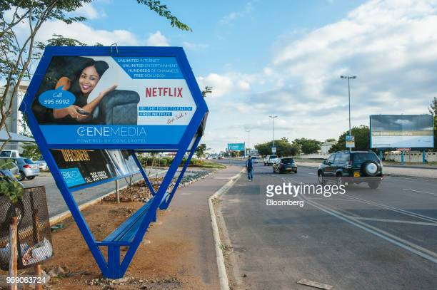 A Cene Media cable services billboard advertising a free Netflix Inc promotion stands in the central business district of Gaborone Botswana on Monday...