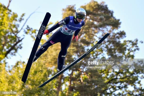 Cene Prevc of Slovenia competes during the FIS Grand Prix Skijumping Hinzenbach at on February 6, 2021 in Eferding, Austria.