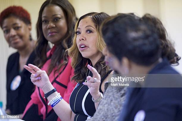 Cener Lucy McBath mother of Jordan Davis who was killed by a man who claimed selfdefense but was later found guilty of murder speaks during a Hillary...