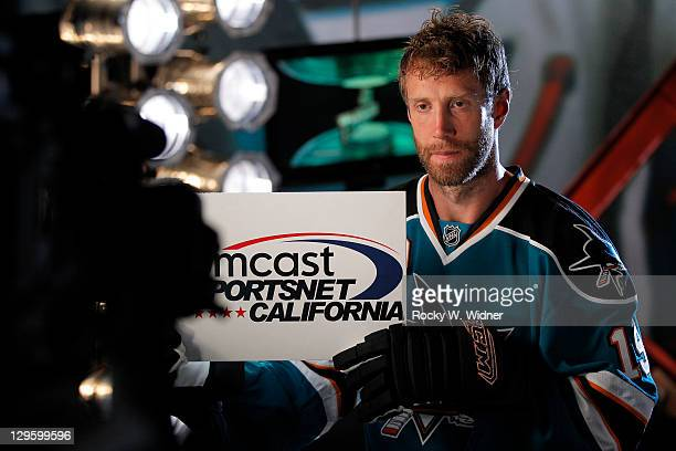 Ceneter Joe Thornton of the San Jose Sharks poses for a video shoot on Media Day at Sharks Ice the San Jose Sharks official practice facility on...