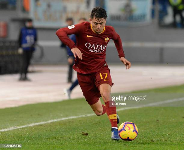 Cengiz Under during the Italian Cup football match between AS Roma and Virtus Entella at the Olympic Stadium in Rome on January 14 2019