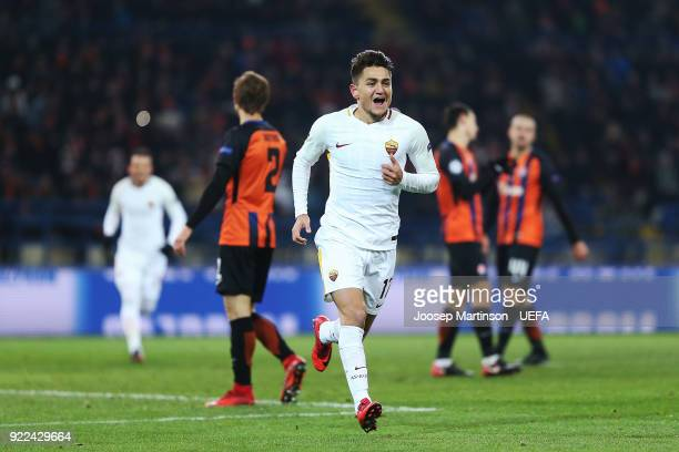 Cengiz Under of AS Roma celebrates his goal during the UEFA Champions League Round of 16 First Leg match between Shakhtar Donetsk and AS Roma at...