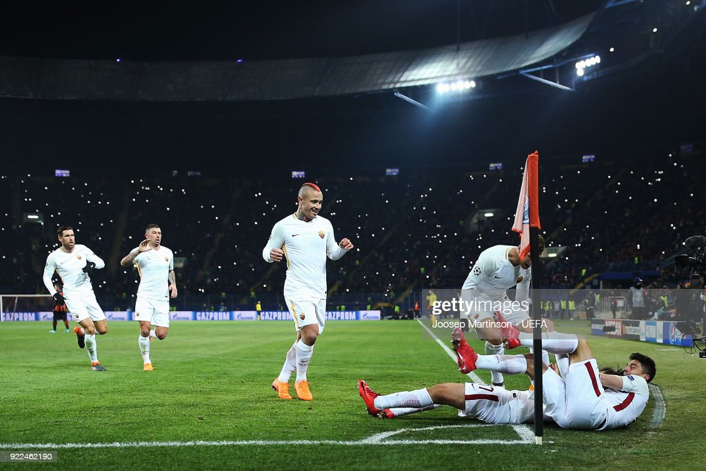 Cengiz Under of AS Roma celebrates his goal with team-mates during the UEFA Champions League Round of 16 First Leg match between Shakhtar Donetsk and AS Roma at Metalist Stadium on February 21, 2018 in Kharkov, Ukraine.