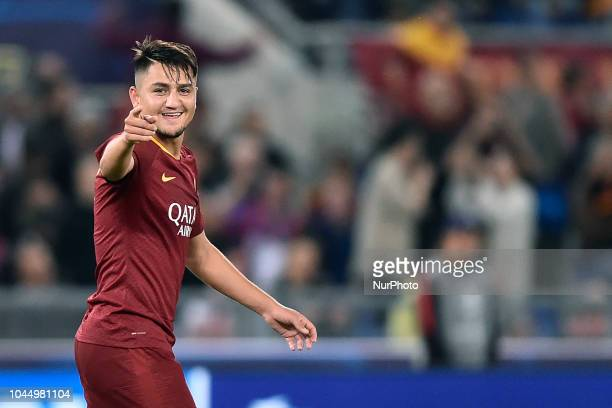 Cengiz Under of AS Roma celebrates scoring third goal during the UEFA Champions League group stage match between Roma and FC Viktoria Plzen at Stadio...