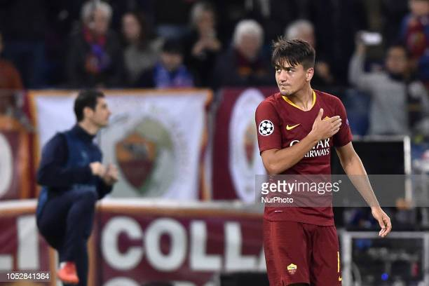 Cengiz Under of AS Roma celebrates scoring third goal during the UEFA Champions League group stage match between Roma and CSKA Moscow at Stadio...