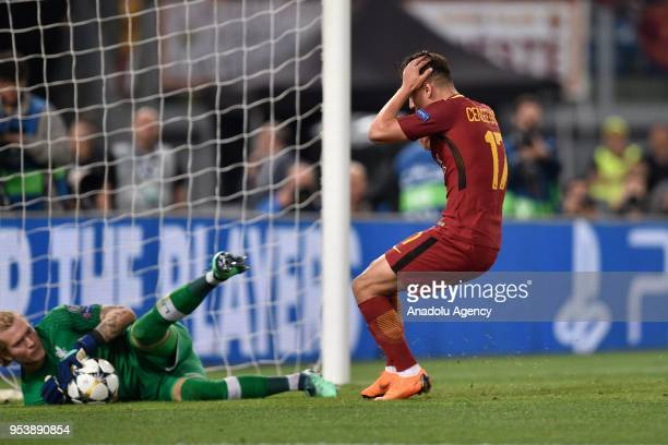 Cengiz Under of AS Roma gestures after missing a chance to score during the UEFA Champions League semi final return match between AS Roma and...