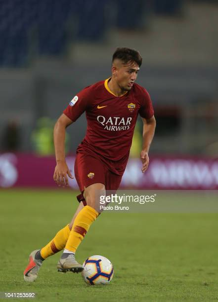 Cengiz Under of AS Roma in action during the Serie A match between AS Roma and Frosinone Calcio at Stadio Olimpico on September 26 2018 in Rome Italy