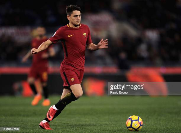 Cengiz Under of AS Roma in action during the serie A match between AS Roma and AC Milan at Stadio Olimpico on February 25 2018 in Rome Italy