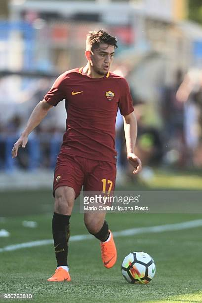 Cengiz Under of AS Roma in action during the serie A match between Spal and AS Roma at Stadio Paolo Mazza on April 21 2018 in Ferrara Italy