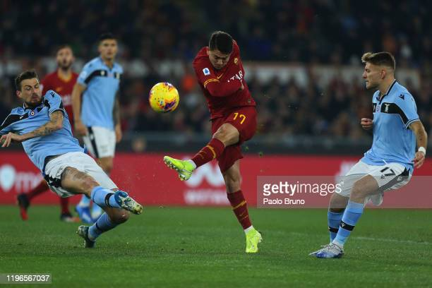 Cengiz Under of AS Roma kicks the ball during the Serie A match between AS Roma and SS Lazio at Stadio Olimpico on January 26, 2020 in Rome, Italy.