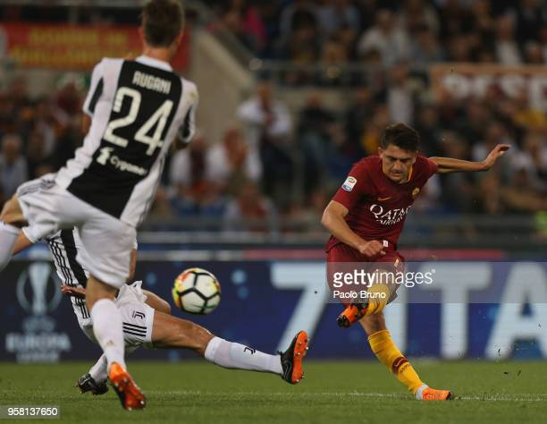 Cengiz Under of AS Roma kicks the ball during the Serie A match between AS Roma and Juventus at Stadio Olimpico on May 13 2018 in Rome Italy